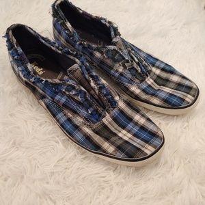 Keds Plaid Ruffle Slip On Shoes Blue Black White